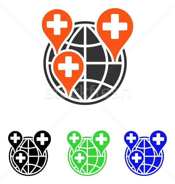 Global Clinic Company Flat Vector Icon Stock photo © ahasoft