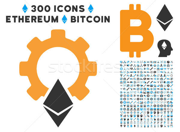 Ethereum Gear Flat Icon with Stock photo © ahasoft