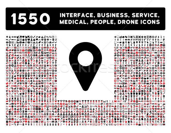 Mapa marcador icono más interfaz negocios Foto stock © ahasoft