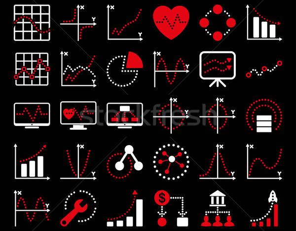 Photo stock: Pointillé · graphiques · icônes · rouge · blanche · couleurs