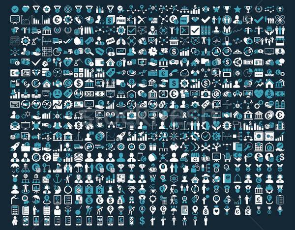 Stock fotó: Alkalmazás · ikonok · kék · fehér · színek · vektor