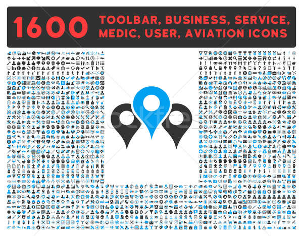 Locations Icon with Large Pictogram Collection Stock photo © ahasoft