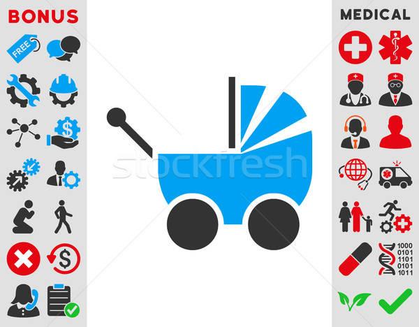 Kinderwagen icon vector stijl symbool Blauw Stockfoto © ahasoft