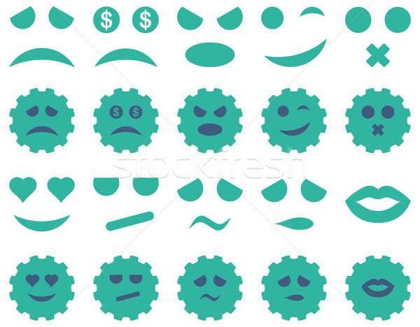 Araç dişli gülümseme duygu simgeler ayarlamak Stok fotoğraf © ahasoft