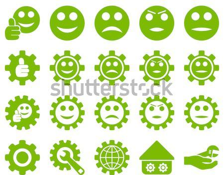 Gülümseme duygu ilişkileri tablet simgeler ayarlamak Stok fotoğraf © ahasoft