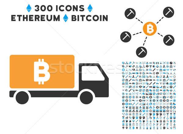 Bitcoin stanie samochodu ikona smart umowy Zdjęcia stock © ahasoft