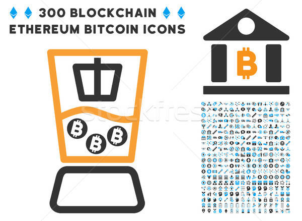 Bitcoin Mixer Flat Icon with Stock photo © ahasoft