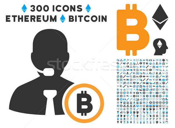 Bitcoin Operator Manager Flat Icon with Set Stock photo © ahasoft