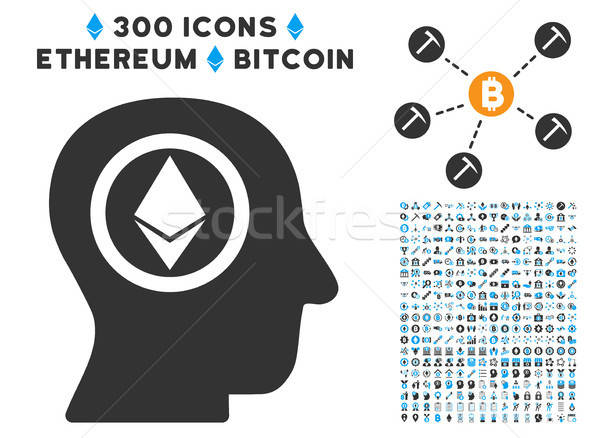 Ethereum Mind Head Flat Icon with Set Stock photo © ahasoft