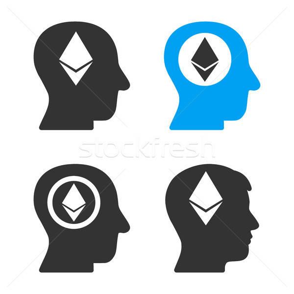 Ethereum Mind Head Vector Icon Set Stock photo © ahasoft