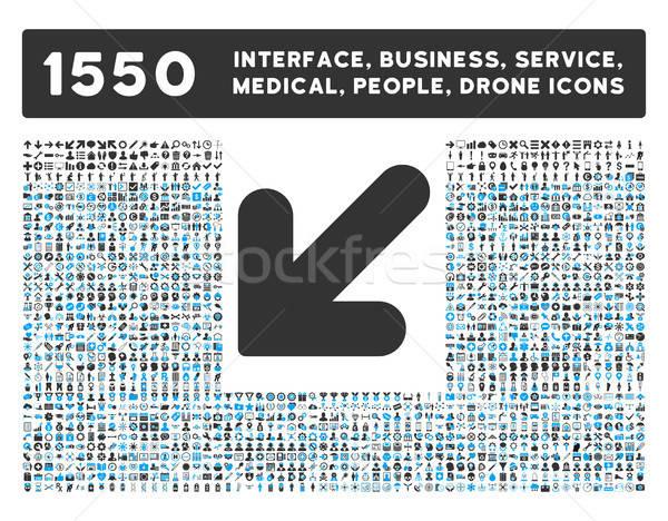 Seta para baixo ícone mais interface negócio Foto stock © ahasoft