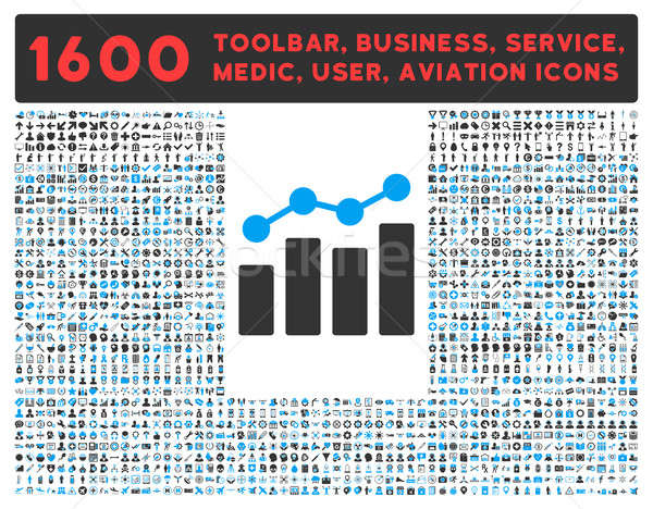 Analytics Icon with Large Pictogram Collection Stock photo © ahasoft