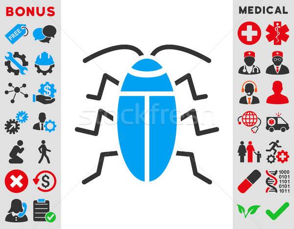 Stok fotoğraf: Hamamböceği · ikon · vektör · stil · simge · mavi