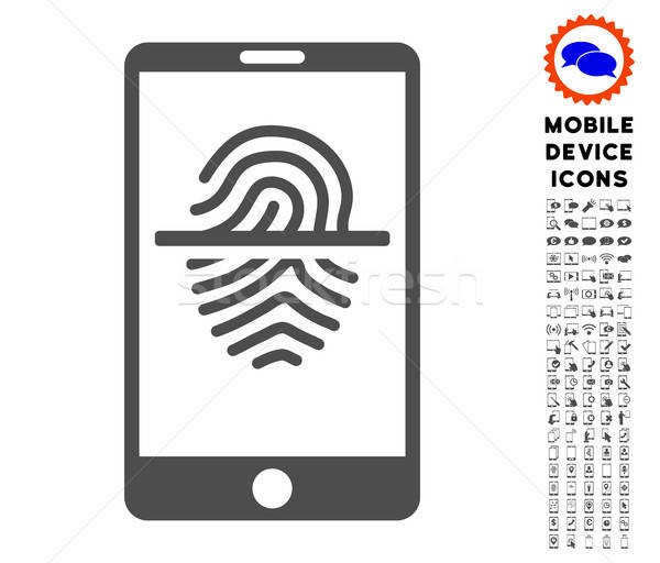 Smartphone Fingerprint Scanner Icon with Set Stock photo © ahasoft