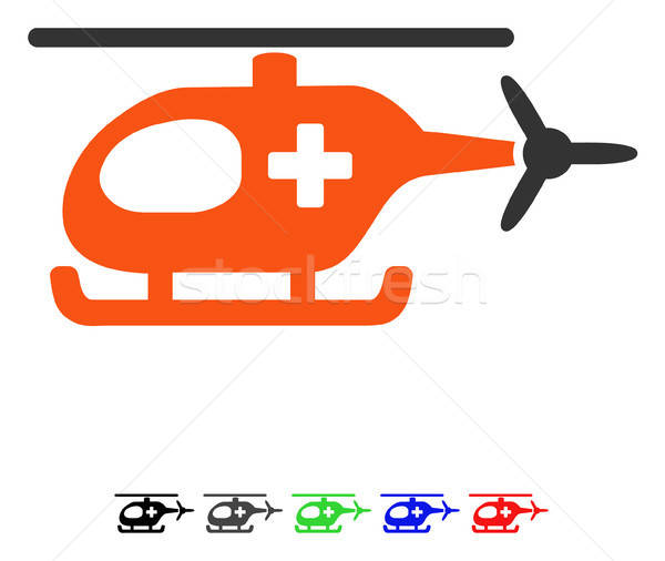 Nood helikopter icon vector pictogram gekleurd Stockfoto © ahasoft