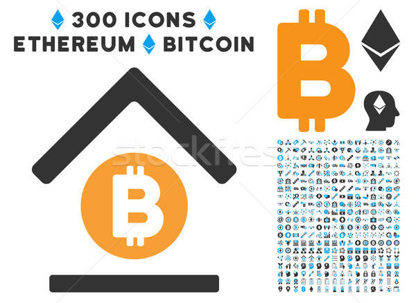 Bitcoin Bank Roof Flat Icon with Set Stock photo © ahasoft