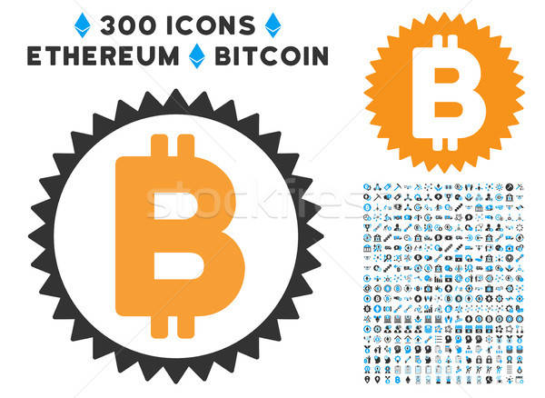 Bitcoin Medal Coin Flat Icon with Collection Stock photo © ahasoft