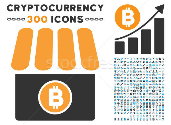 Bitcoin Store Flat Icon with Collection Stock photo © ahasoft