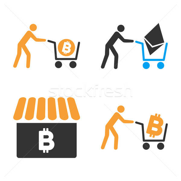 Cryptocurrency Shopping Vector Icon Set Stock photo © ahasoft
