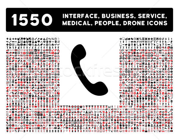 Phone Icon and More Interface, Business, Tools, People, Medical, Awards Flat Vector Icons Stock photo © ahasoft