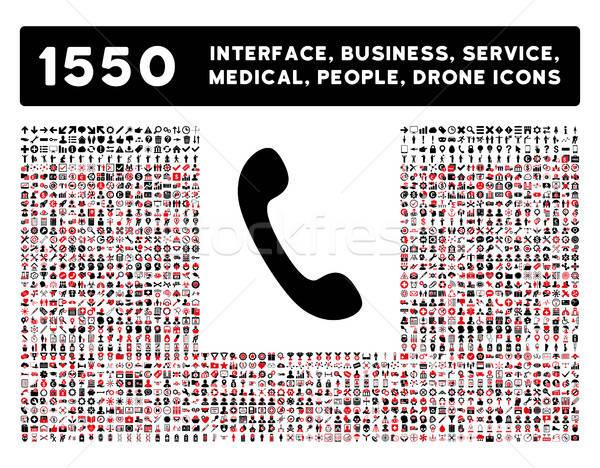 Telefon ikon daha fazla arayüz iş araçları Stok fotoğraf © ahasoft