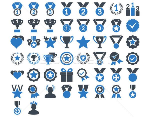 конкуренция иконки синий цветами вектора Сток-фото © ahasoft