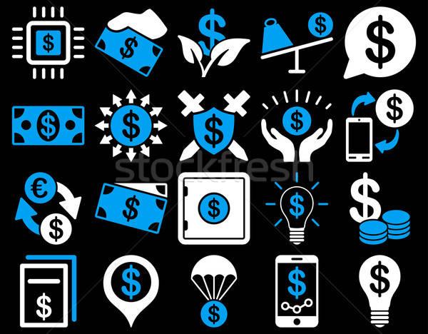 Dollar iconen Blauw witte kleuren Stockfoto © ahasoft