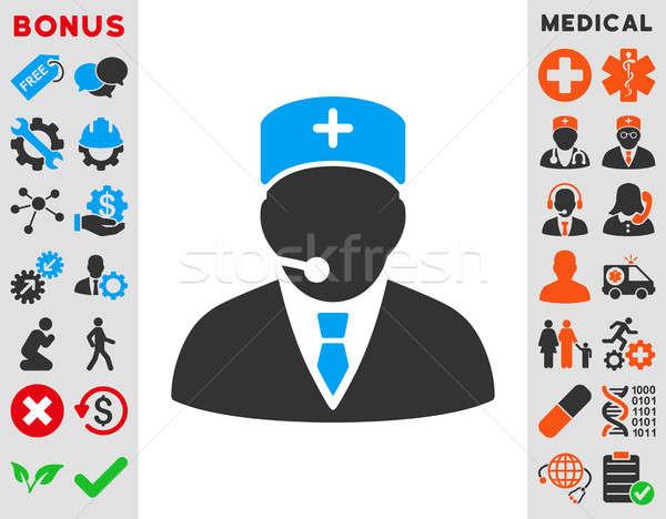 Medische manager icon stijl symbool Blauw Stockfoto © ahasoft