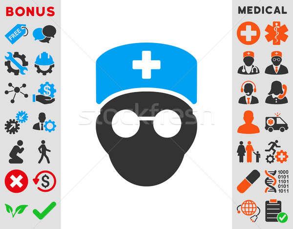 Medikus fej ikon stílus szimbólum kék Stock fotó © ahasoft