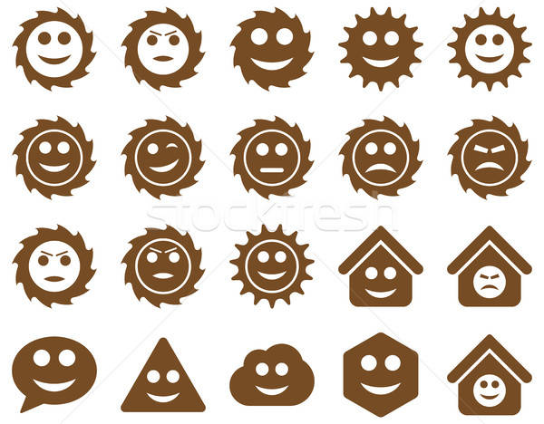 Stockfoto: Tools · versnellingen · glimlacht · emoties · iconen · vector