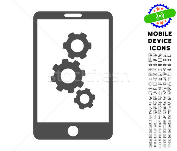 Smartphone Gears Icon with Set Stock photo © ahasoft