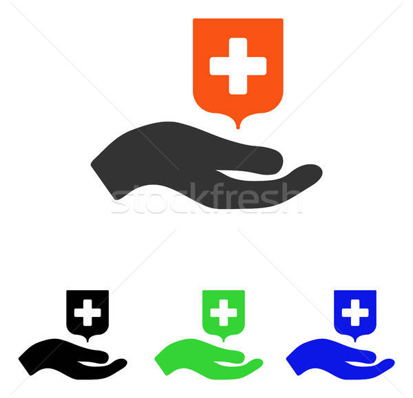 Hand Offer Medical Shield Flat Vector Icon Stock photo © ahasoft