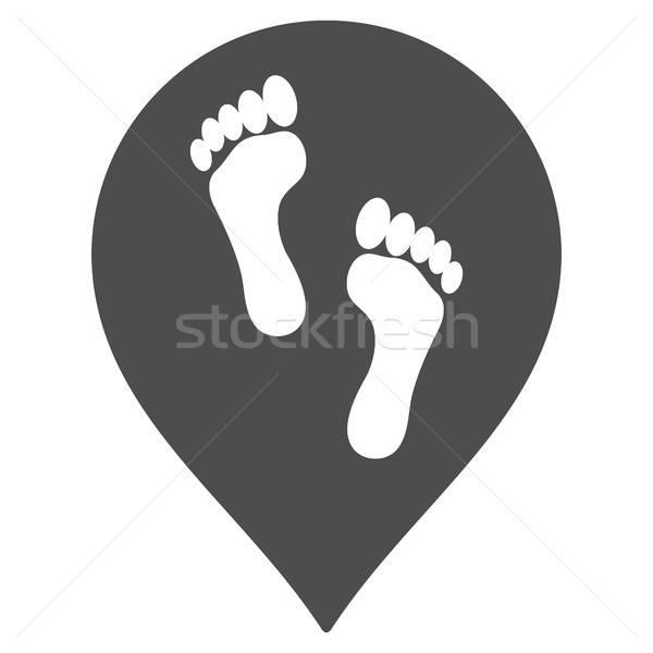 Lábnyomok térkép jelző ikon vektor piktogram Stock fotó © ahasoft