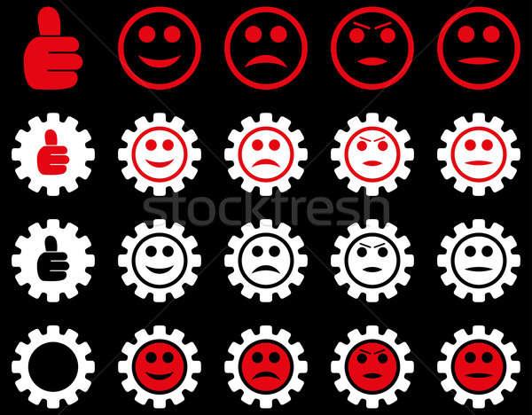 Einstellungen Lächeln Zahnräder Symbole Stil Stock foto © ahasoft