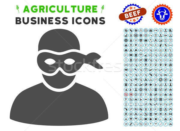Hırsız ikon tarım ayarlamak gri ticari Stok fotoğraf © ahasoft