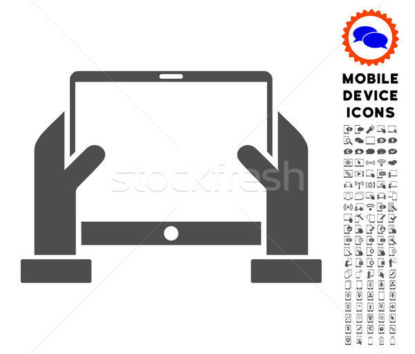 Hands Hold Tablet Icon with Set Stock photo © ahasoft