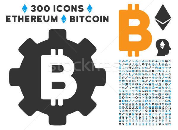 Bitcoin Cog roue icône clipart puce Photo stock © ahasoft