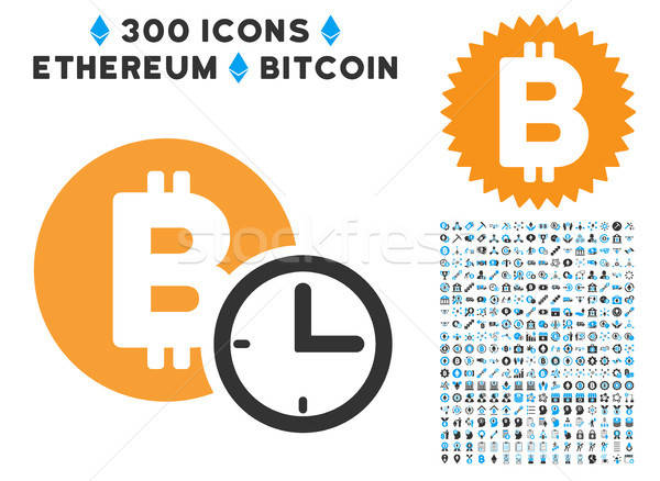 Stock photo: Bitcoin Credit Clock Flat Icon with Collection