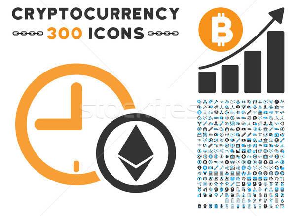Crédit horloge icône ensemble bitcoin puce Photo stock © ahasoft