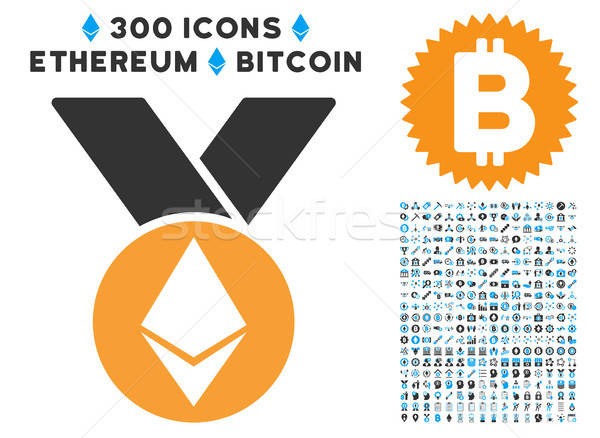 Stock photo: Ethereum Medal With Ribbons Flat Icon with Clip Art