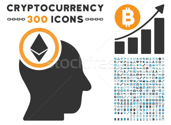 Ethereum Mind Head Flat Icon with Clip Art Stock photo © ahasoft