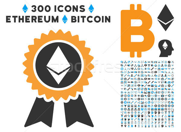 Ethereum Reward Seal Flat Icon with Stock photo © ahasoft