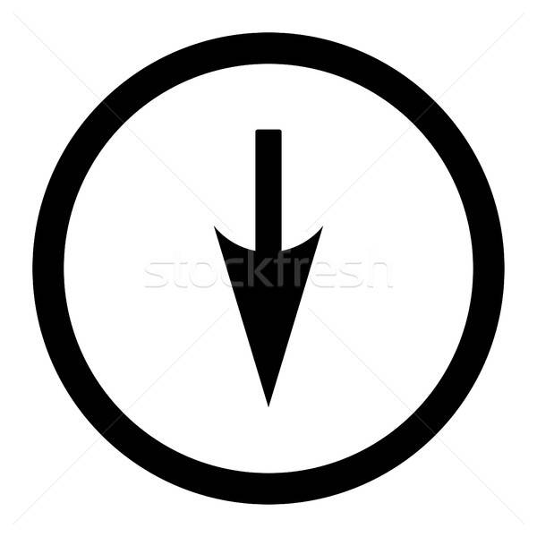 Sharp Down Arrow flat black color rounded vector icon Stock photo © ahasoft