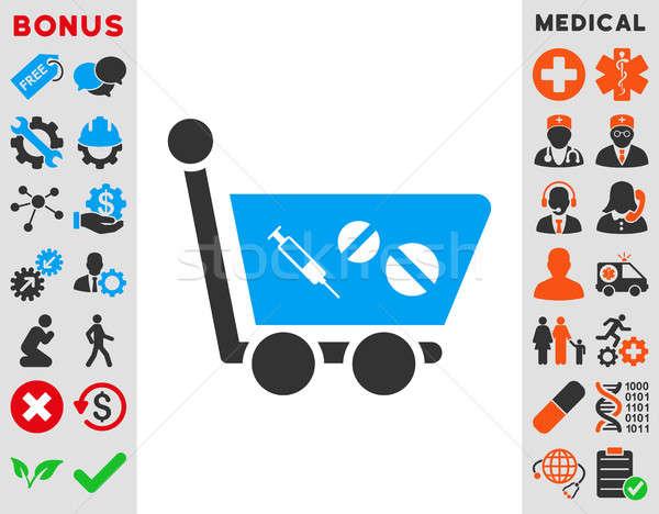 Winkelwagen icon stijl symbool Blauw Stockfoto © ahasoft