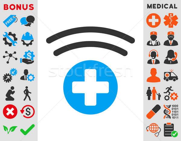 Stock fotó: Orvosi · forrás · ikon · stílus · szimbólum · kék