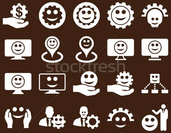 Foto stock: Ferramentas · engrenagens · smiles · mapa · ícones · conjunto