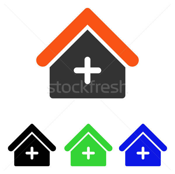 Stock photo: Clinic Building Flat Vector Icon