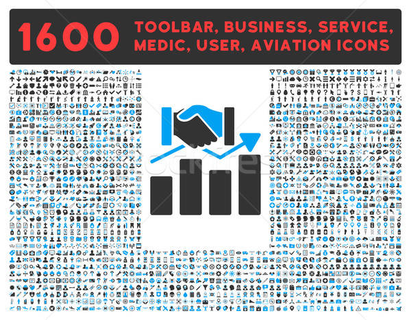 Acquisition Graph Icon with Large Pictogram Collection Stock photo © ahasoft