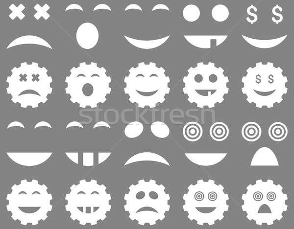 инструментом Gear улыбка эмоций иконки набор Сток-фото © ahasoft