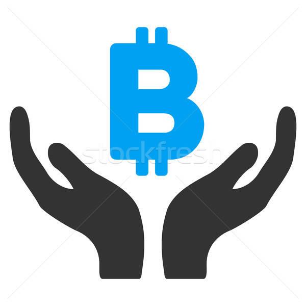 Bitcoin entretien mains icône demande web design Photo stock © ahasoft